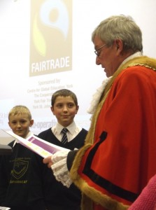 St. Martin's receive their Fairtrade in Yorkshire Schools award from the Sheriff of York