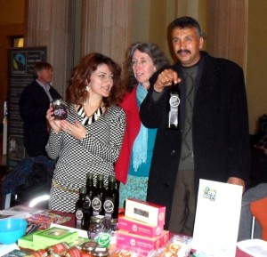 Manal, Hilary (who sells Zaytoun products in the UK) and Odeh at the University of Leeds Fair.