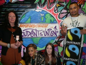 Bradford College Student Union members with the mini marchers