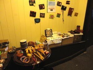 The Folk Festival stall of Fair Trade gifts.