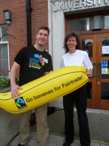 Adam Gardner, of the Fairtrade Foundation and Karen Palframan of Fairtrade Yorkshire - promoting the fair banana.