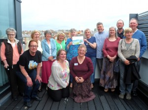 Supporters gather on the roof garden at 'The Street' for the Fairtrade Scarborough AGM.