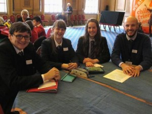 Benedict, Isobel, Marienne and Jack Tunnecliff taking Fairtrade forward at St. Mary's