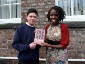 Tom with competition judge, Juliana Mensah, Artist in Residence, Centre for Applied Human Rights.