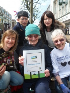 Fairtrade supporters in York celebrate the renewal of Yorkshire's Fairtrade Region status.