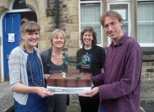 Hannah Langdana (Chair of Fairtrade Yorkshire), Linda McAvan MEP, Karen Palframan and Richard Lane with the 20th birthday cake