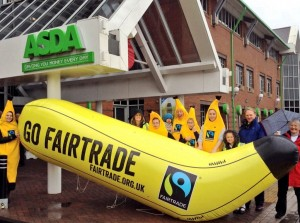 A slightly soggy bunch of bananas a-peel to ASDA for better bananas