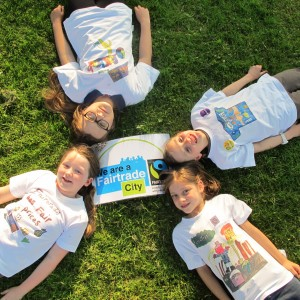 The all-girl finalists from the Fairtrade Leeds 10th anniversary t-shirt competition