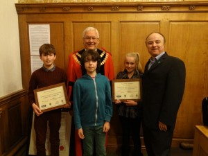 Jack, Kaden and Gemma with the Mayor of Skipton and Mark Dawson of Fairtrade Yorkshire