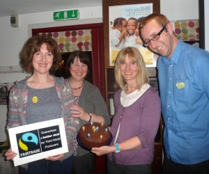 Haxby chocolate tasters and the winner of the guess the weight of the Fairtrade chocolate cake competition.