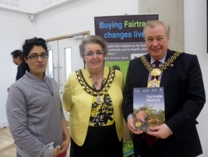 President of the Students' Union, Fatima Sohail, with the Lady Mayoress and Lord Mayor.