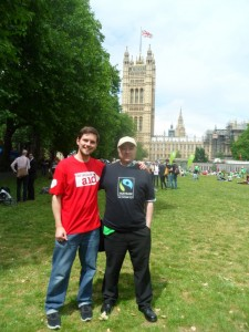 Matt Wright of Fairtrade Horsforth and Mark Dawson, Coordinator of Fairtrade Yorkshire at the climate lobby