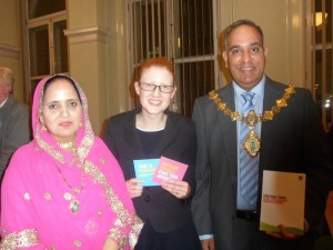 The Deputy Mayoress of Calderdale, Holly Lynch MP and the Mayor of Calderdale