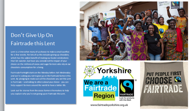 Dont give up on Fairtrade this Lent